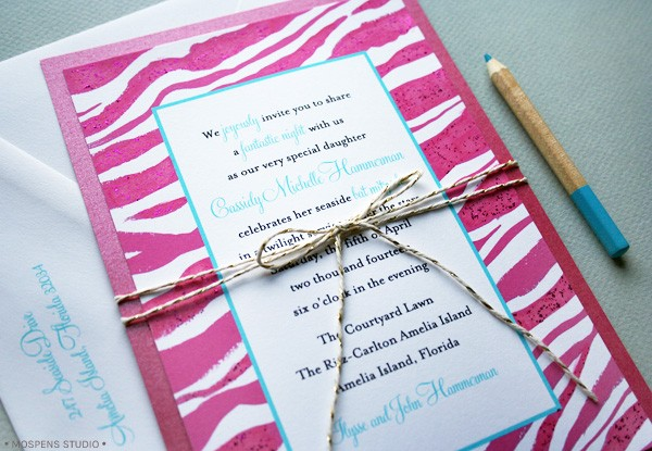 Bat Mitzvah Invitations modern pink zebra design with bow // MospensStudio.com