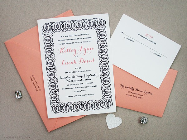 Black and white 1920s-Inspired Wedding Invitations | Mospens Studio