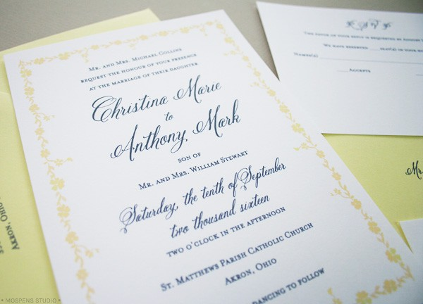 Light Yellow + Gray Gatsby-Inspired Wedding Invitations | Mospens Studio