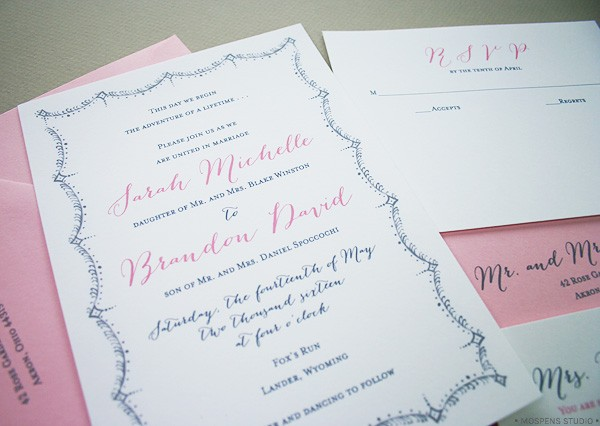 Pink and Gray Great Gatsby-Inspired Wedding Invitations | Mospens Studio