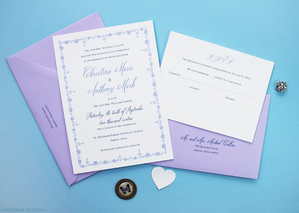 Light purple and gray Gatsby-Inspired Custom Wedding Invitations | Mospens Studio