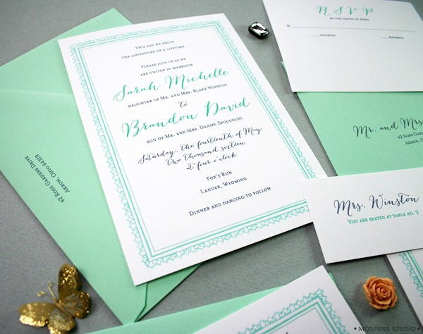 Mint green + dark gray Great Gatsby-Inspired Wedding Invitations | Mospens Studio