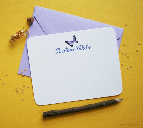 Purple butterfly personalized note cards | Mospens Studio