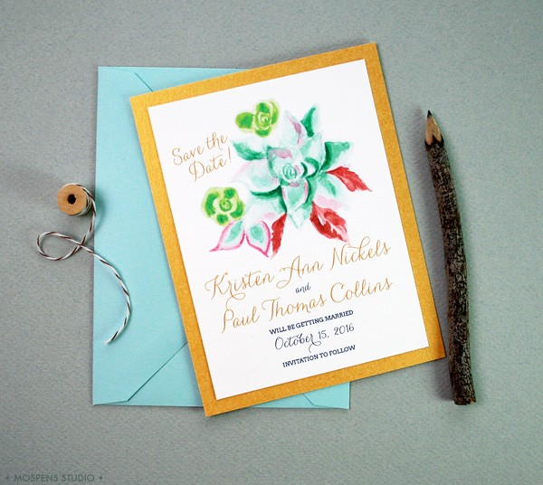 Chic rustic save the date cards adorning a hand-painted succulent design. // MospensStudio.com