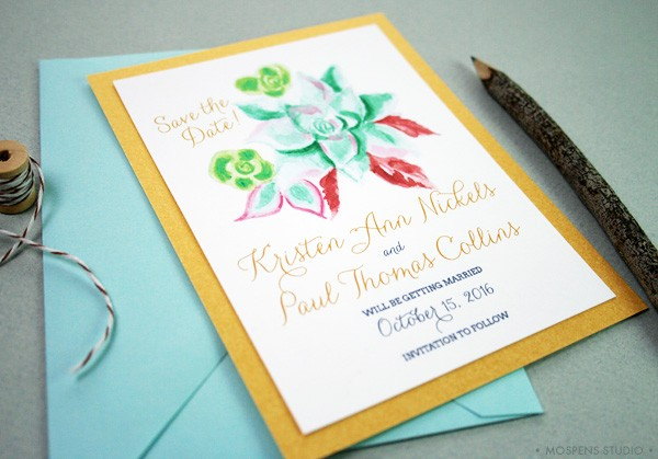 Rustic themed save the date cards adorning a hand-painted succulent design. // MospensStudio.com