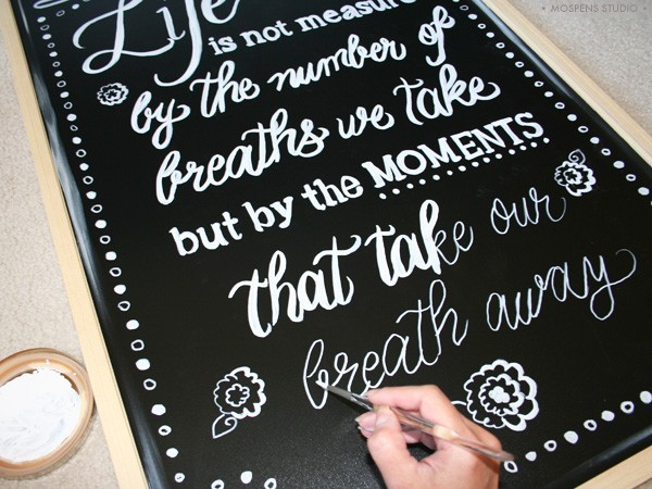 Chalkboard art hand-drawn custom lettering by artist Michelle Mospens