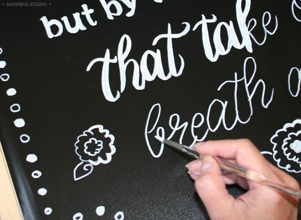 Chalkboard artist hand-lettering by Michelle Mospens
