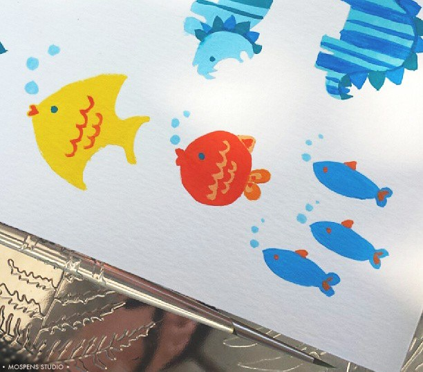 Hand-painted baby fish stationery illustrations / MospensStudio.com