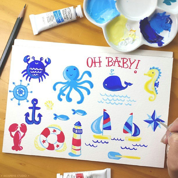 Hand-painted nautical baby stationery illustrations / MospensStudio.com