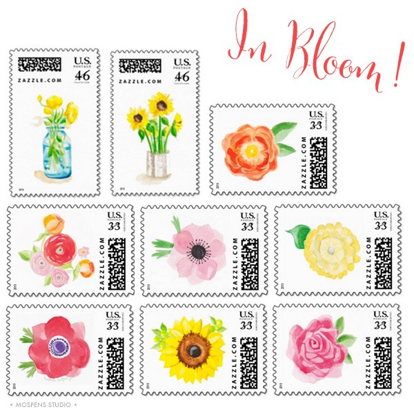Watercolor flowers postage stamps by artist Michelle Mospens