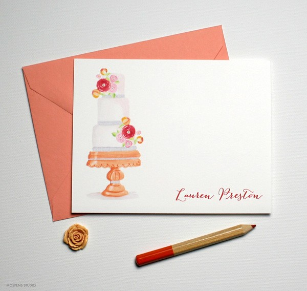 Fancy birthday cake note cards | Mospens Studio