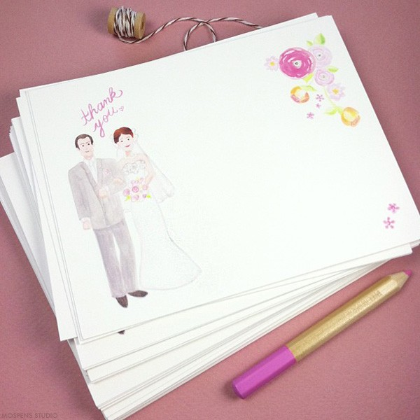Custom thank you cards with wedding couple | Mospens Studio