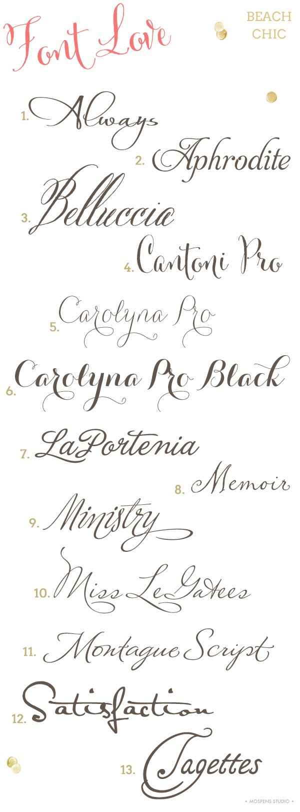 Beach wedding invitation fonts | Mospens Studio