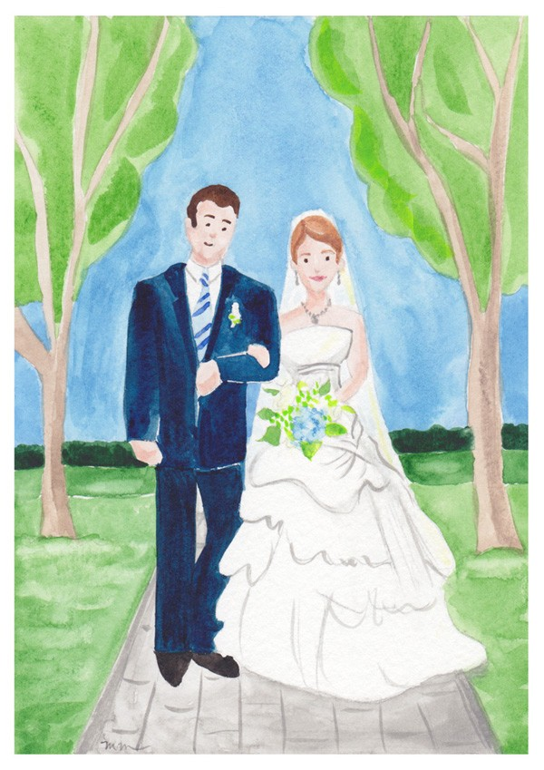 Wedding couple watercolor illustration | Mospens Studio