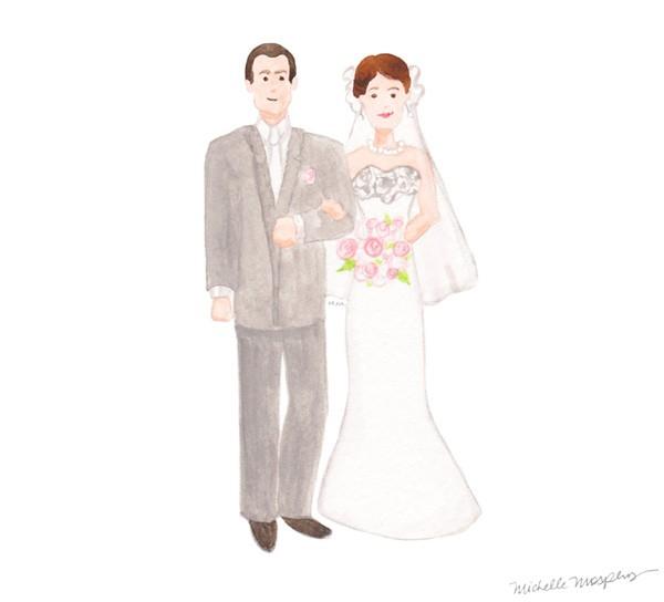 Original wedding couple illustration | Mospens Studio