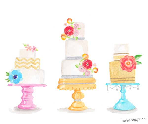 Watercolor decorative cakes | Mospens Studio