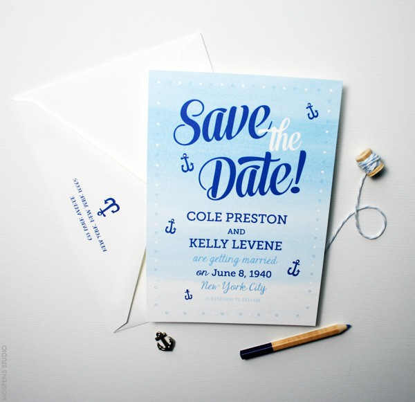 Light Blue Ocean Ombré Nautical Save the Dates | Mospens Studio