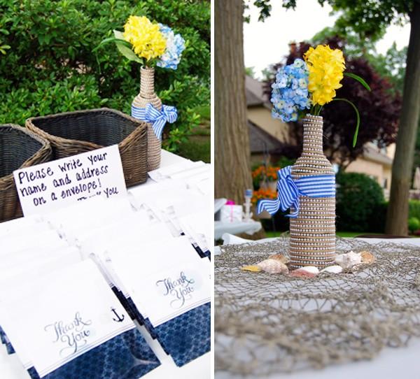 Lovely nautical bridal shower table decor   Mospens Studio