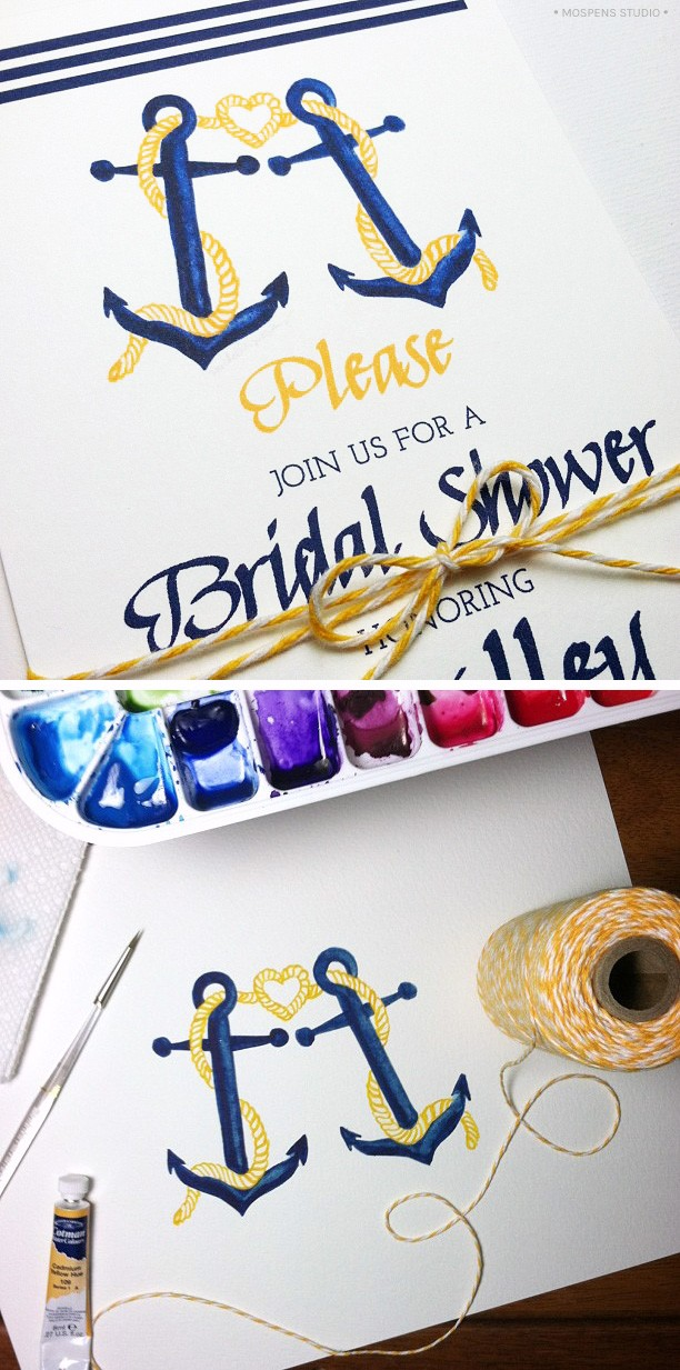Nautical wedding bridal shower invitations | Mospens Studio