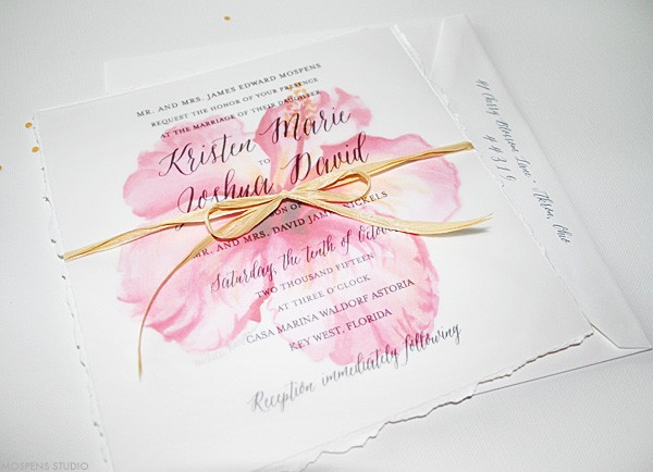 Beach Wedding Invitations | Tropical Watercolor Hibiscus | Mospens Studio