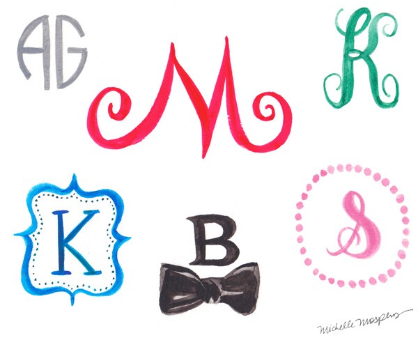 Custom illustrated and hand-painted monograms | Mospens Studio