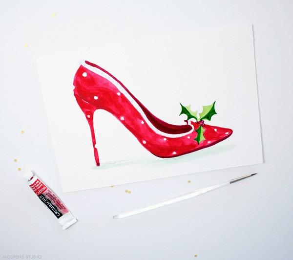 Christmas High Heel Shoe Art | Mospens Studio