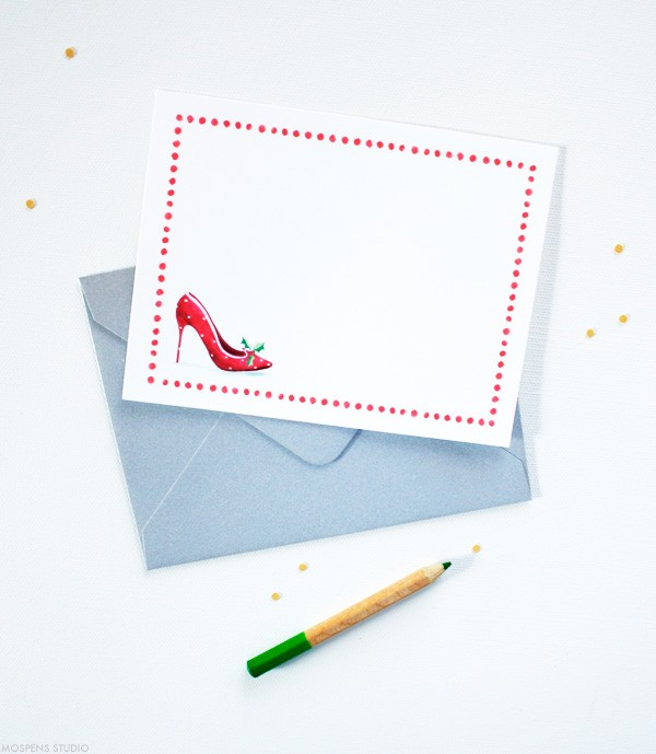 Christmas High Heel Shoe Note Cards | Mospens Studio