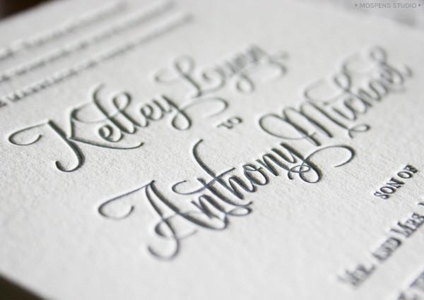Letterpress + hand-painted rustic wedding invitations | Mospens Studio