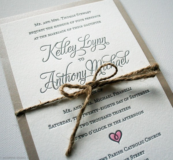 Letterpress + Hand Painted Rustic Wedding Invitations | Mospens Studio