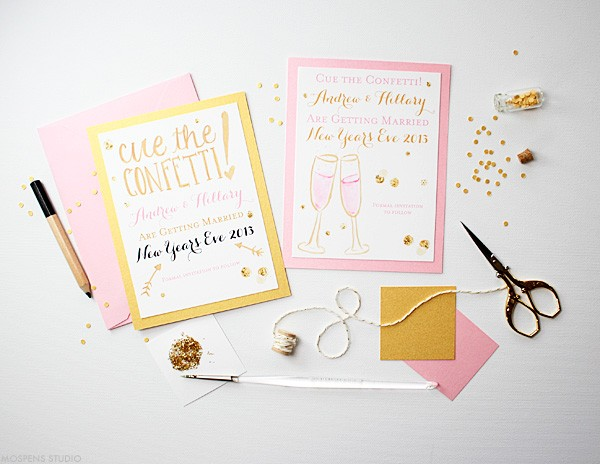 Unique save the dates for a New Year's Eve wedding | Mospens Studio