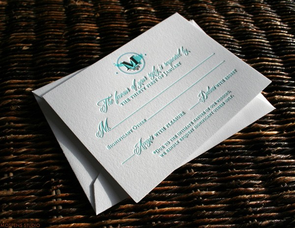 Beach wedding letterpress wedding stationery | Mospens Studio