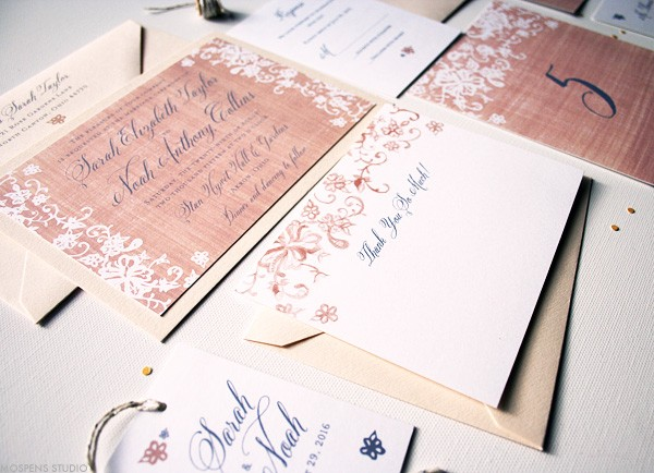Watercolor Burlap + Lace Wedding Invitations and Stationery | www.mospensstudio.com