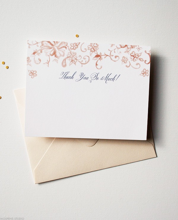 Elegant lace wedding thank you cards | www.mospensstudio.com