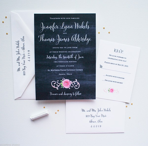 Chalkboard Wedding Invitations Perfect for a Vintage Wedding | Mospens Studio