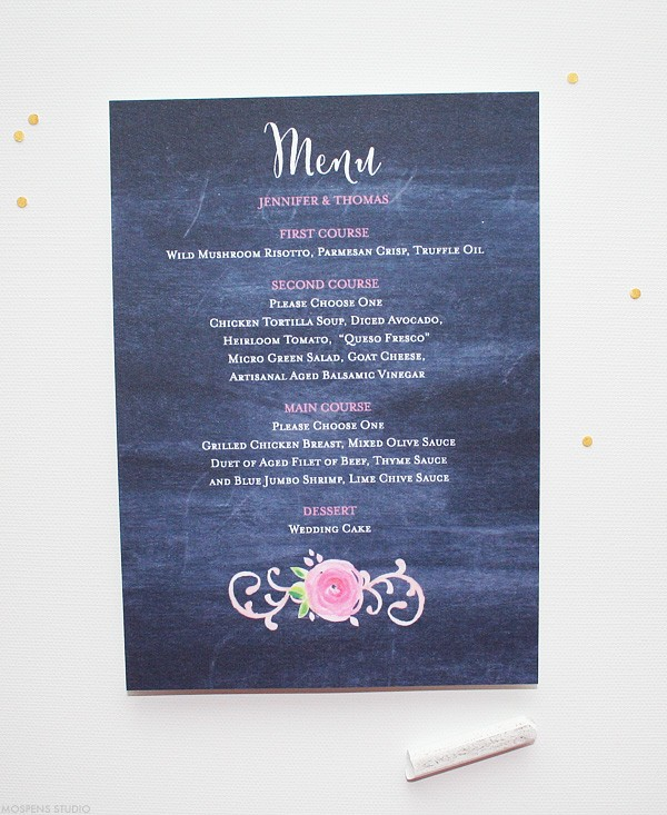 Chalkboard Wedding Menus Perfect for a Vintage Wedding | Mospens Studio