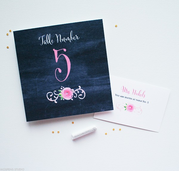 Chalkboard Wedding Table Cards Perfect for a Vintage Wedding | Mospens Studio