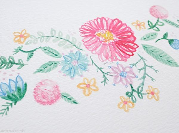 Hand-painted vintage watercolor flowers | Mospens Studio