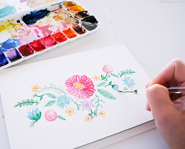 Hand-painted vintage watercolor flowers | Mospens Studio