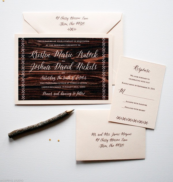 Elegant barn wedding stationery with hand-painted dark wood tones | www.mospensstudio.com