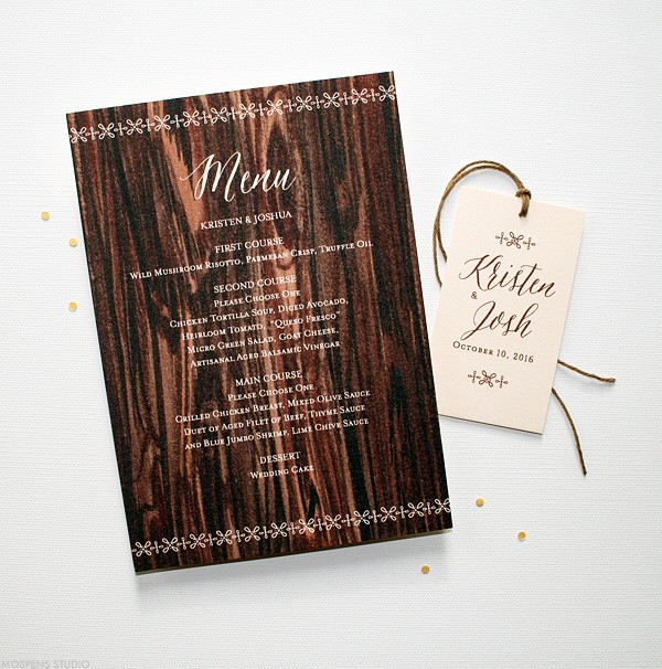 Rustic barn wedding menu and favor tag | www.mospensstudio.com