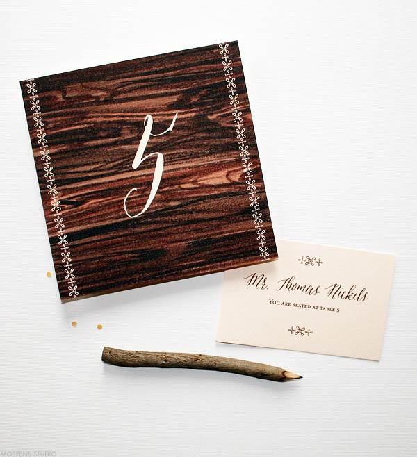 Rustic barn wedding cards and place cards | www.mospensstudio.com