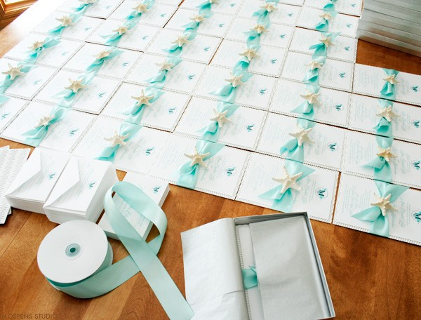 Beautiful beach wedding invitations with starfish | Mospens Studio