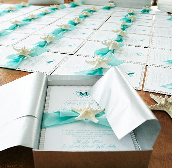 Beautiful Beach Wedding Invitations Mospens Studio