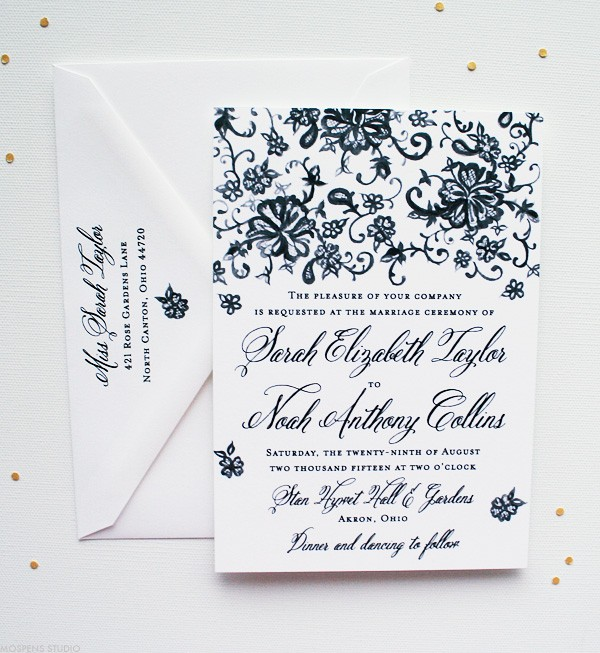 Vintage Wedding Invitations with Hand-painted Chantilly Lace | Mospens Studio