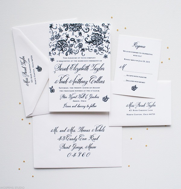 Vintage Wedding Invitations and Stationery with Hand-painted Lace   Mospens Studio