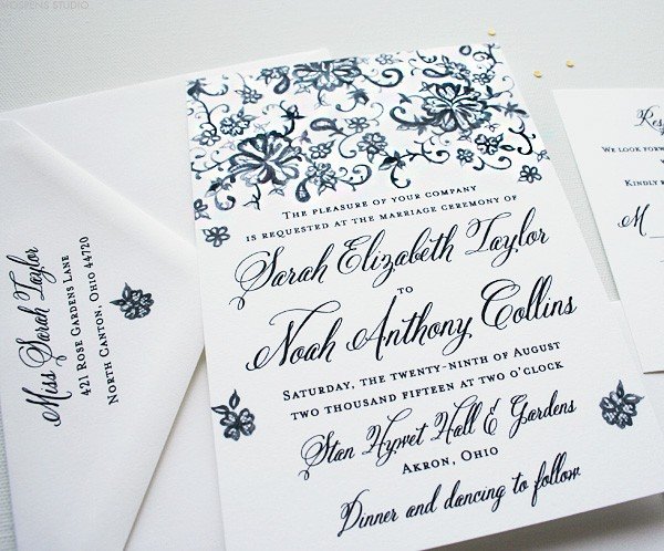 Vintage Wedding Invitations with Hand-painted Lace | Mospens Studio