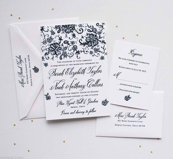 Vintage Wedding Invitations with Lace | Mospens Studio