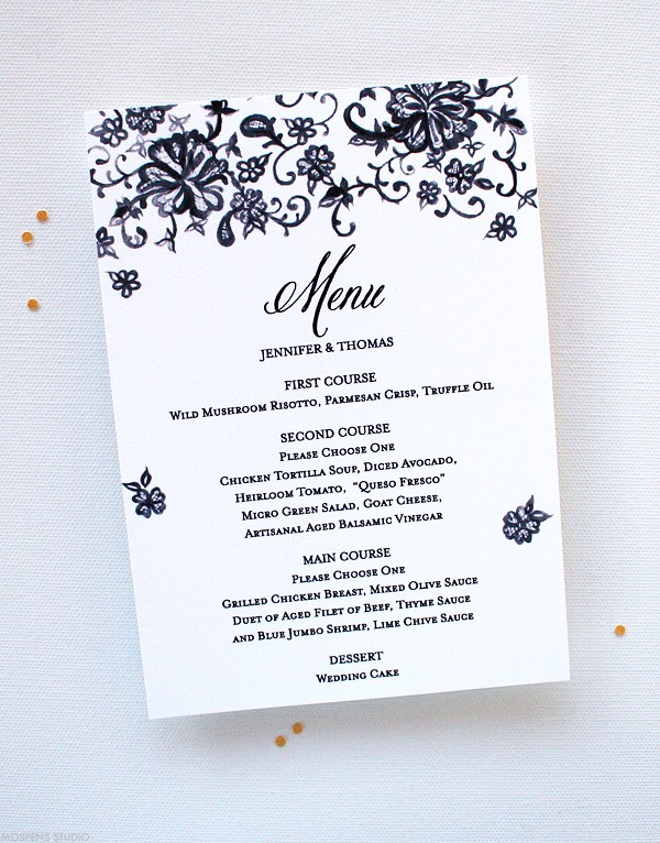Vintage Wedding Menus with Chantilly Lace | Mospens Studio