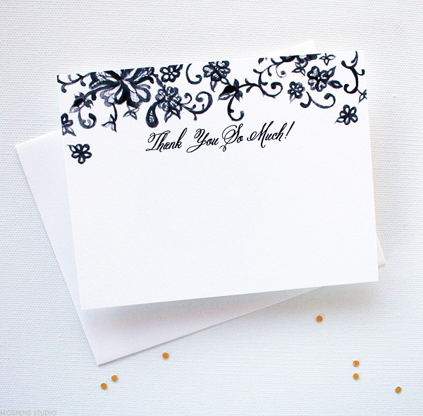 Vintage Wedding Thank You Cards with Lace | Mospens Studio