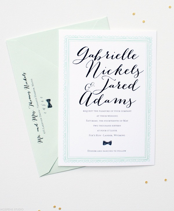 Vintage wedding invitations with a modern mint green twist | Mospens Studio